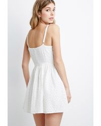 Forever 21 | Natural Floral-embroidered Fit & Flare Dress | Lyst