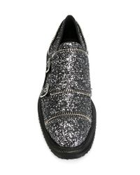 Giuseppe Zanotti - Gray Glitter Buckled Leather Loafers - Lyst