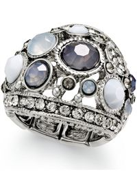 INC International Concepts | Metallic Silver-Tone Gray Stone Stretch Ring | Lyst