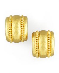 Elizabeth Locke | Metallic Amalfi Granulated 19k Gold Huggie Earrings | Lyst