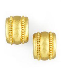 Elizabeth Locke | Metallic Amalfi Granulated 19k Gold Huggie Earrings | Lyst