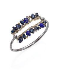 Alexis Bittar | Blue Elements Dark Alchemy Lapis, Hematite & Crystal Id Hinge Bracelet | Lyst