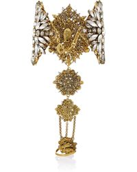 Erickson Beamon | Metallic Hung Up Gold-Plated Swarovski Crystal Finger Bracelet | Lyst