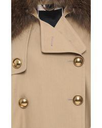 Burberry - Natural Trench Cape With Raccoon Collar - Lyst