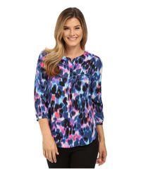 NYDJ | Blue Hepburn Shadow Floral Print 3/4 Sleeve Blouse In Petite | Lyst
