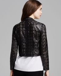 MILLY - Black Jacket Laser Cut Perforated Leather - Lyst