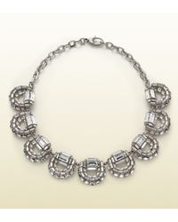 Gucci | White Crystal Horsebit Motif Necklace | Lyst
