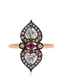 Sabine G - Gray Heart To Heart 18-Karat Rose-Gold Diamond Ring - Lyst