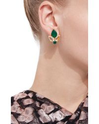 Bounkit | Multicolor Green Onyx And Clear Quartz Drop Earrings | Lyst