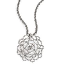 Oscar de la Renta | Metallic Pavé Flower Convertible Brooch & Pendant Necklace | Lyst