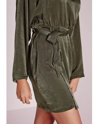 Missguided | Natural Silky Kimono Wrap Mini Dress With Belt Khaki | Lyst