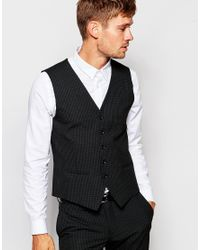 SELECTED - Black Mini Check Waistcoat In Skinny Fit for Men - Lyst