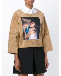 AALTO - Brown Photo Print Fluffy Sweater - Lyst