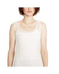 Ralph Lauren - Natural Fringed Lace Sleeveless Dress - Lyst