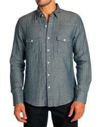 PAIGE - Blue Hunter Double Faced Sportshirt for Men - Lyst