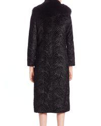 Alice + Olivia - Black Fur-collar Textured Faux Fur Coat - Lyst