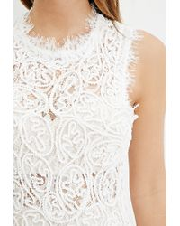 Forever 21 | Natural Rope-embroidered Lace Mini Dress | Lyst