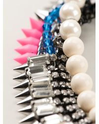Venna   Metallic Pearly Spiked Collar Necklace   Lyst