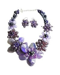 Aeravida - Purple Agate &amethyst Floral Necklace/earring Set - Lyst