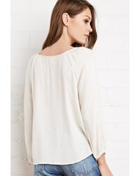 Forever 21 - Natural Floral Embroidered Blouse - Lyst