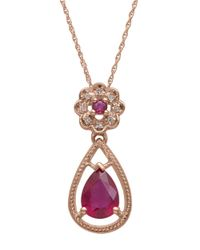 Lord & Taylor | Red Diamond And Ruby 14k Rose Gold Drop Necklace | Lyst
