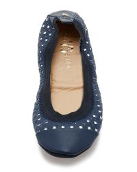 Yosi Samra - Blue Samantha Perforated Flats - Indigo/silver - Lyst