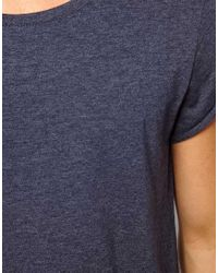 ASOS | Gray T-Shirt With Scoop Neck And Roll Sleeve for Men | Lyst