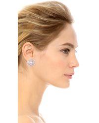 Kenneth Jay Lane | Metallic Pave Flower Earrings | Lyst