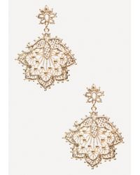 Bebe - Metallic Metal Lace Earrings - Lyst