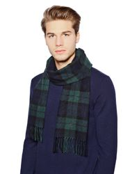 Polo Ralph Lauren - Green Plaid Cashmere Scarf With Fringe - Lyst