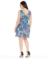 Spense - Blue Plus Size V-neck Floral-print Dress - Lyst