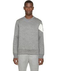 Moncler Gamme Bleu - Gray Grey Slub Neoprene Pullover for Men - Lyst