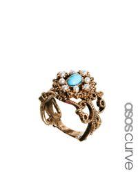 ASOS - Blue Vintage Filigree Band Ring - Lyst