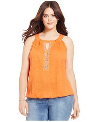 INC International Concepts | Orange Plus Size Beaded Keyhole Halter | Lyst