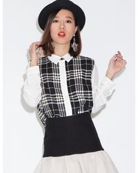 Pixie Market - White Sister Jane Check Blouse - Lyst