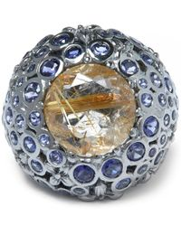 Stephen Dweck | Metallic Silver Gold Quartz Iolite Ventre Orb Ring | Lyst