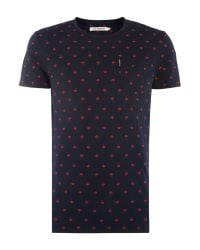 Ben Sherman | Blue T-shirt With Umbrella Print for Men | Lyst