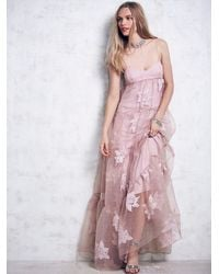 Free People - Pink Womens Black Rose Tulle Maxi - Lyst
