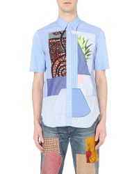 Junya Watanabe | Blue Patchwork Regular-fit Cotton Shirt for Men | Lyst