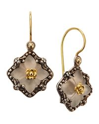 Konstantino | Metallic Diamond-Shape Clover Carved Frosted Crystal Earrings | Lyst