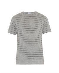 Sunspel - Gray Dotted-Stripe Jersey T-Shirt for Men - Lyst