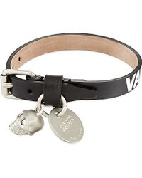 Alexander McQueen | Gray Valour Leather Bracelet | Lyst