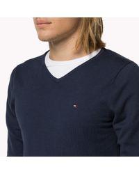 Tommy Hilfiger - Blue Cotton Blend V-neck Sweater for Men - Lyst