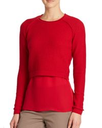 Elie Tahari | Red Giada Sweater & Blouse Set | Lyst