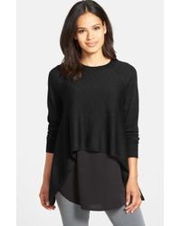 Eileen Fisher | Black Round Neck Merino Crop Top | Lyst