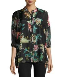 Johnny Was | Multicolor Flower-print Velvet Tunic | Lyst