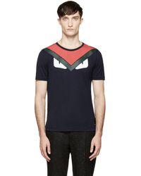 Fendi - Blue Navy Monster Face T_Shirt for Men - Lyst