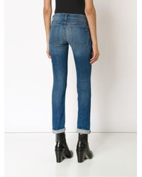 Rag & Bone - Blue Stone Washed Skinny Jeans - Lyst