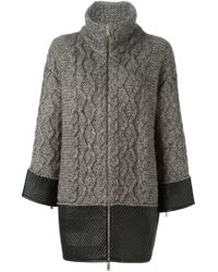 DSquared² - Gray Contrasted Hem And Cuff Coat - Lyst