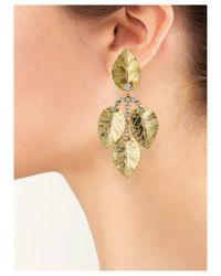 Kenneth Jay Lane   Metallic Leaf Drop Clip Earring   Lyst